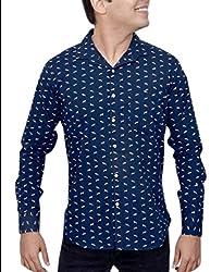 Ivory Men's Casual Cotton Shirt (2921-NB-S_Navy Blue)