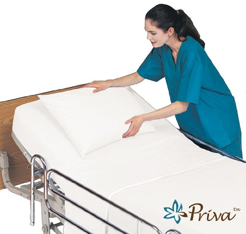 Priva All in One Hospital Bed in a Bag, Top Sheet, Bottom Sheet, Pillow Case and Blanket,  White
