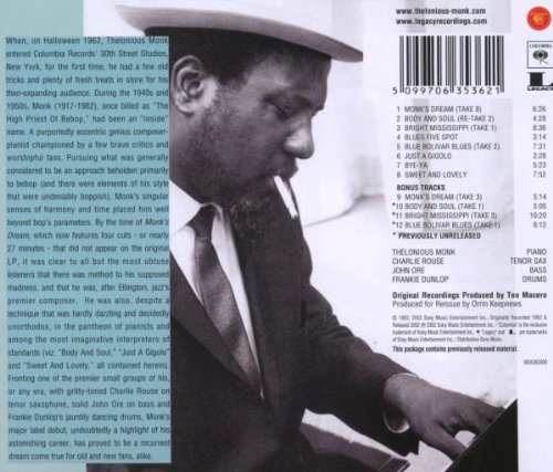 an analysis of the album monks dream by thelonious monk Thelonious monk delivers a an extremely prolific period that left us live and studio albums of monk and monk's dream stands comparison with any monk.