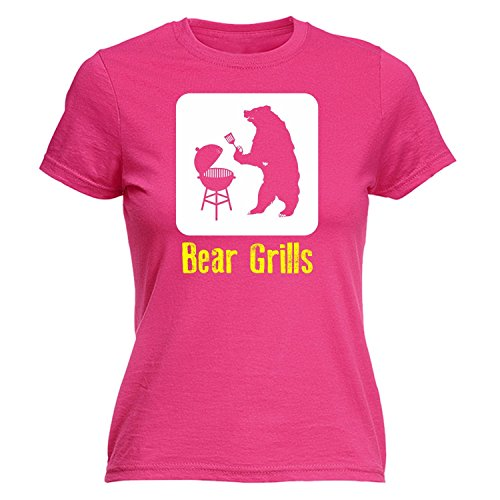 Fonfella Slogans Women'S Bear Grills - Fitted T Shirt Medium Hot Pink