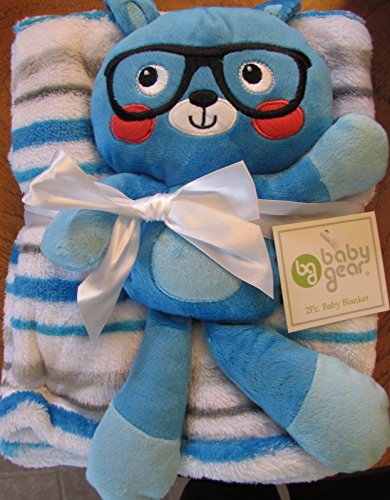 Baby Gear 2pc Baby Boy Blanket Soft Plush Dog Squeaky Toy Blue Green Stripe - 1