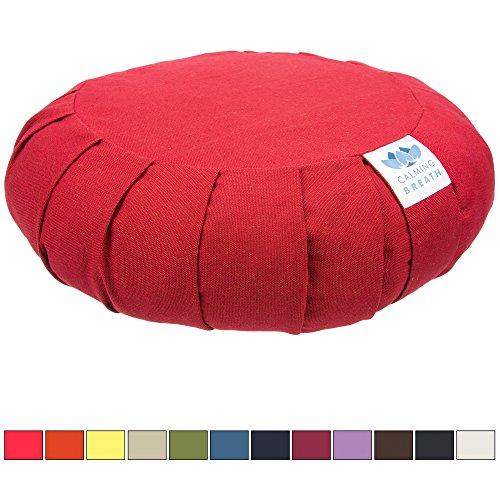 Coussin de méditation Zafu bio avec garnissage en balles de sarrasin (Rouge cerise)
