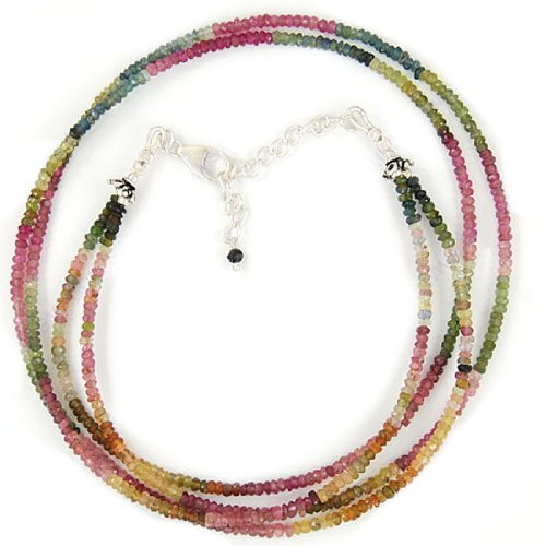 925 Sterling Silver Tourmaline 3 mm Natural Gemstone 2 Strand Beads Findings Necklace 21 Inches Jewelry New