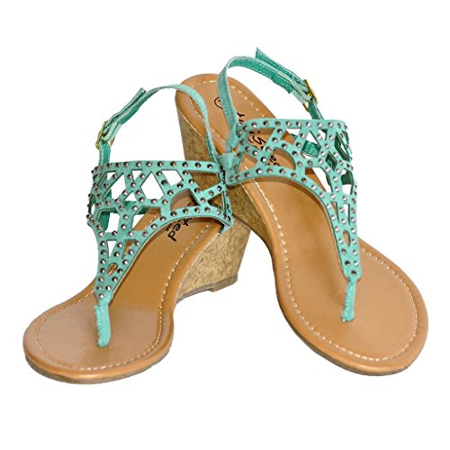 Twisted Women'S Riley Faux Suede Cutout Gladiator T-Strap Low Wedge Sandal With Heat Stone Studs - Teal, Size 8 front-1004215