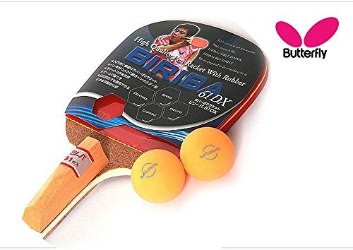 Butterfly BIRIBA 61 DX : Pen Holder style(With Rubber) Table tennis/Pingpong-T pro table tennis pingpong combo racket ritc 729 v 6 with 2x ritc 729 new cream rubbers long shakehand fl