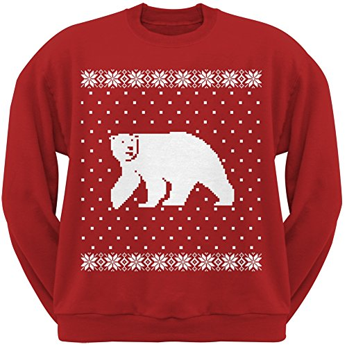 Big Polar Bear Ugly Christmas Sweater Red Crew Neck Sweatshirt - Large