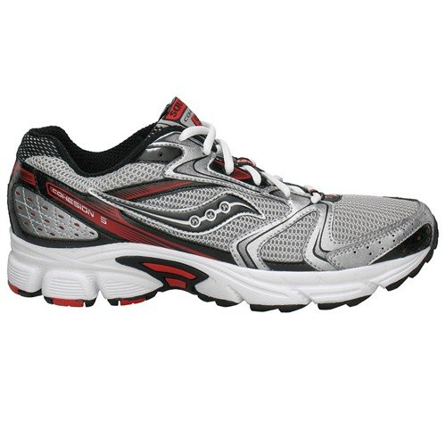 Saucony Men's Grid Cohesion 5 Running Shoe,Black/Black/Red,10 M US