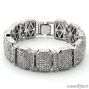 Silver Plated Octagon CZ Cubic Zirconia Hip Hop Bracelet