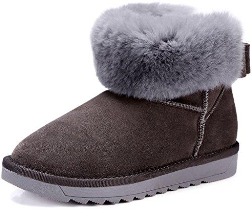 ELEHOT Donna Eleaccent senza tacco 2CM Leather Stivali, grigio, 35.5