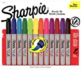 Sharpie 1810704 Brush Tip Permanent Marker, Assorted Colors, 12-Pack