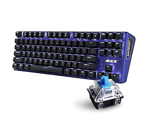 Rantopad-MXX-Mechanical-Gaming-Keyboard-87-KeysWhite-Backlit-Blue-Switches-Blue-Aluminum-Cover-N-Key-Rollover