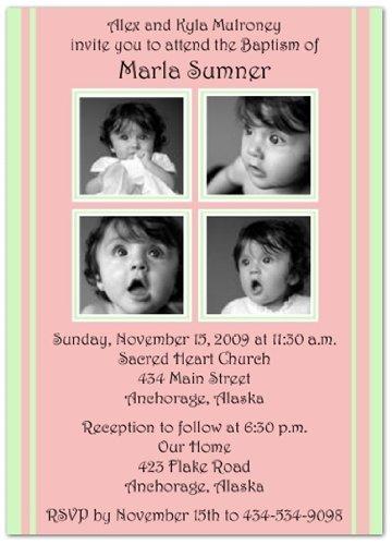 2 + 2 On Pink & Mint Baptism Invitations Christening Invitations - Set Of 20 front-1059378