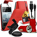 Jumbo 6 IN 1 Car Accessory Pack For Apple Ipod Touch 5 Faux Leather Credit / Debit Card Slots Leather Flip Case + Retractable Touchscreen Stylus Pen + Screen Protector Guard + Unisuction 360 In-Car Windscreen Suction Car Mount Holder + In Car Bullet USB