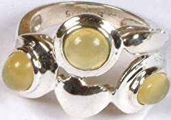 Exotic India Yellow Chalcedony Ring with Valentine - Sterling Silver Ring Size 5.
