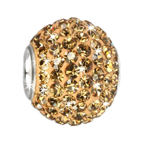SilberDream Glitter Bead Swarowski Elements amber shiny, 925 Sterling Silver Bead, for Bead Bracelet, Necklace or Earring GSB206