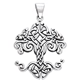 """Large Celtic Knot Tree of Life Sterling Silver Pendant 18"""" Chain Necklace"""