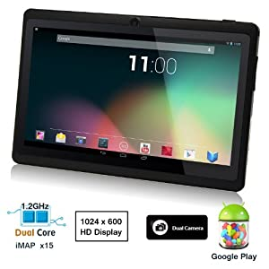 Dragon Touch® 7'' Black Dual Core Y88 Google Android 4.3 Tablet PC, Dual Camera, HD 1024x600, 4GB, Google Play Pre-load, HDMI, 3D Game Supported (enhanced version of A13) [By TabletExpress]