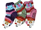 Assorted Cuddly Knit Felt Detail Girls Socks (Ages 6-8) - Girls Knit Socks (3pk)