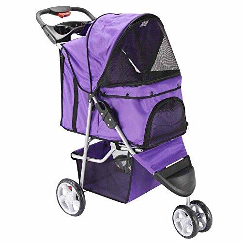 OxGord® Pet Stroller Cat / Dog Easy Walk Folding Travel Carrier Carriage – 2015 Newly Designed 3 Wheeler Elite Jogger – Lavender Purple