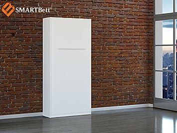 Schrankbett Smartbett Murphy Bed Vertikal 90x200cm Gästebett Weiß