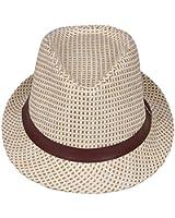 La Vogue Child Kids Soft Straw Sun Trilby Fedora Hat Banded Jazz Costume Cap