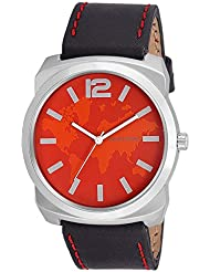 Swisstone GR0018-RED-BLK White Dial Black Strap Analog Wrist Watch For Men/Boys