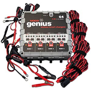 NOCO Genius G4 6V 12V 4.4 Amp 4-Bank Smart Battery Charger and Maintainer by NOCO