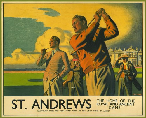Vintage Travel SCOTLAND for ST.ANDREWS GOLFING Home of the Royal and Ancient Game 250gsm ART CARD Gloss A3 Reproduction Poster