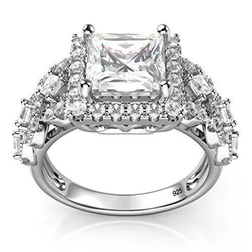 Sz 7 Sterling Silver 925 Princess Cut CZ Cubic Zirconia Halo Engagement Ring
