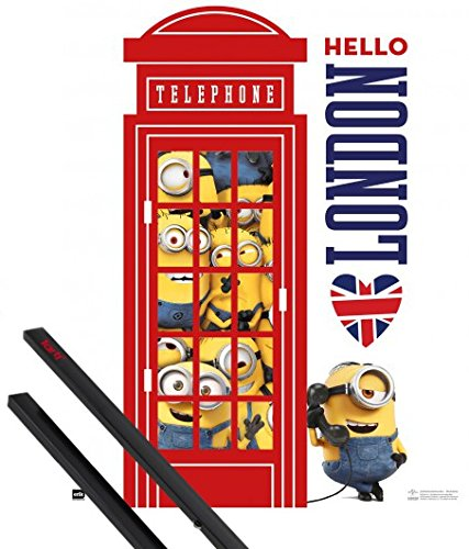 Poster + Sospensione : Minions Mini Poster (50x40 cm) Hello London, Red Telephone E Coppia Di Barre Porta Poster Nere 1art1®