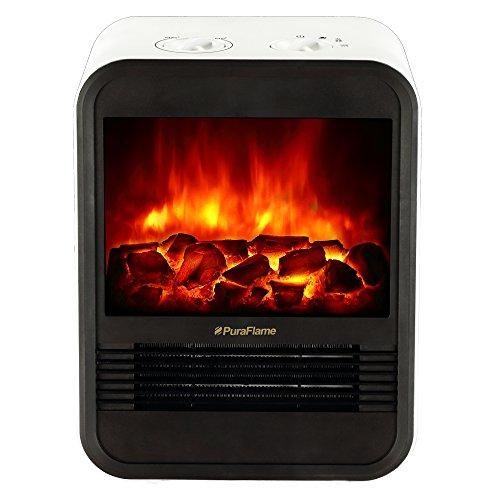 Cheap PuraFlame Clara White 9 inch Mini Portable electric Heater, perfect for office, 1250W