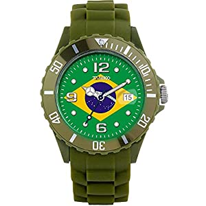 TIME100 Memorial National World Cup Classic Silicone Strap Brazil Outdoor Sports Digital Watch #W40113M.06A