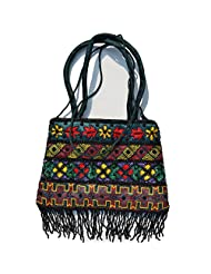 Raun Harman Embroidered Blue With Yellow Flower Tote Bag
