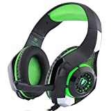 TurnRaise 3.5mm Stereo Gaming LED Lighting Over-Ear Headphone with Mic for Laptop Tablet/ PS4/ Mobile Phones w/ Noise Cancelling & Volume Control(Green)