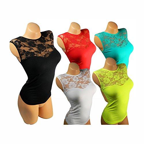 Sexy Damen T-Shirt mit Spitz Tank Top Spitze Body Tunika GoGo Microfaser Abendmode Kleid Party Feier VM103