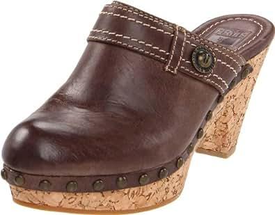 FRYE Women's Audra Button Clog, Dark Brown, 6 M US