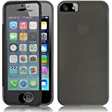 Fone-Stuff iPhone 5S 5 Case - Full Body Silicone Gel Skin Cover with See through Touchable Wallet flip Screen Protector (Black)