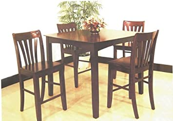 5pc Wood Counter Height Dining Table & 4 Bar Stool/Chair Set
