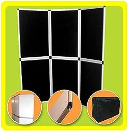GHP Trade Show Presentation Exhibit Booth 6\' Tabletop Black 6-Panel Folding Display Backdrop