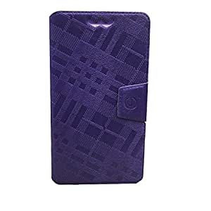 Jo Jo Cover Krish Series Leather Pouch Flip Case With Silicon Holder For Lava Iris 405 Purple