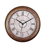 SonYo Silent Non-ticking Round Wall Clocks (12 Inches) Decorative Vintage Style Roman Numeral Clock Bronze