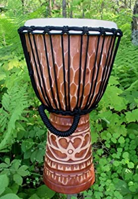"""Deep-Carved African-Style Djembe Drum, 19""""-20"""" Tall x 10""""-11"""" Head"""