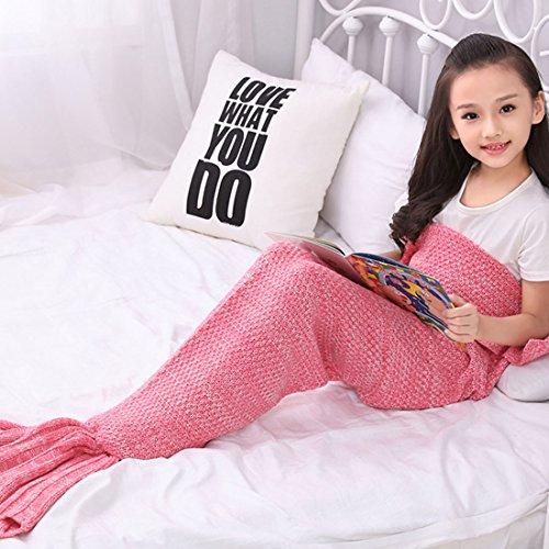 Ericoy Meerjungfrau Decke, Handgemachte häkeln meerjungfrau flosse decke für , Mermaid Blanket alle Jahreszeiten Schlafsack Erwachsene / Kind / Baby(Pink)S thumbnail