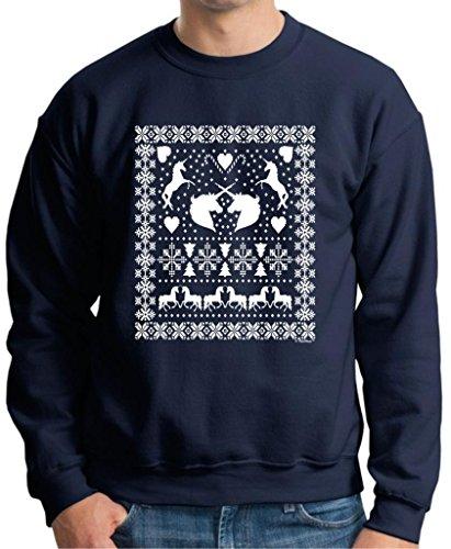 Ugly Christmas Sweater With Unicorns Premium Crewneck Sweatshirt Medium Navy