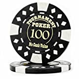 Pack of 25 Professional Tournament Hot-Stamped 12.5 Gram Poker Chips (Black)