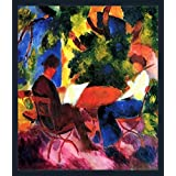 Couple At The Garden Table By Macke - ArtsNyou Printed Paintings - B00QA1DXDE