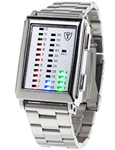 Detomaso Spacy Timeline Stainless Steel Men's Quartz Watch with Grey Dial Digital Display and Silver Stainless Steel Bracelet G-30723A