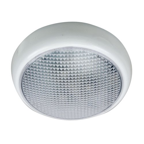 Perko Round Surface Mount Led Dome Light White Powder Coat Without Switch