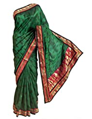 DollsofIndia Black Print On Green Tussar Silk Saree With Zari Border And Pallu - Tussar - Green