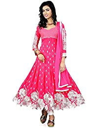 Purva Art Womens New Rose Pink Anarkali Dress (PA_40004_Pink_Cutwork_Dress_Work_Embroidery _Color_Pink_Size_Free...